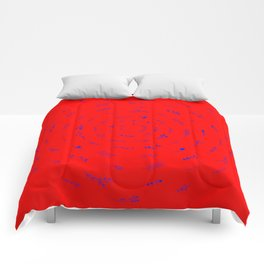 Minimalist Spring Floral Cyclone (Blue on Red) Comforters