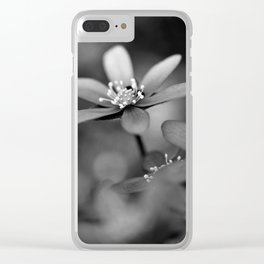 Blue spring flower Hepatica in bw Clear iPhone Case
