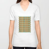 wooden V-neck T-shirts featuring Wooden Mint  by Louise Machado