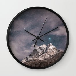 Space and earth collide Wall Clock