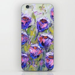 Purple and Pink Roses, Palette Knife Painting in Oil iPhone Skin