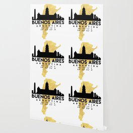 BUENOS AIRES ARGENTINA SILHOUETTE SKYLINE MAP ART Wallpaper
