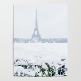 Eiffel Tower in Paris in the Snow Poster