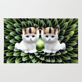 Cute Twin Cats on Green Plant Rug