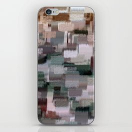 abstract colorful pastel drawing green brown tones iPhone Skin