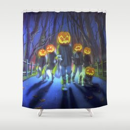 Attack of the Jack-O-Lanterns Shower Curtain