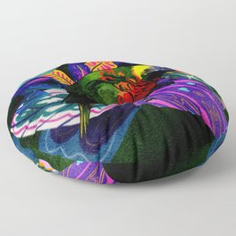 Colorful Rainbow Lorikeet with Tropical Plants Floor Pillow