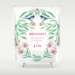 Happiness - Botanic bird water lily - Green, pink - Circle Shower Curtain