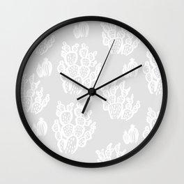 Prickly Pear Grey Cacti Wall Clock
