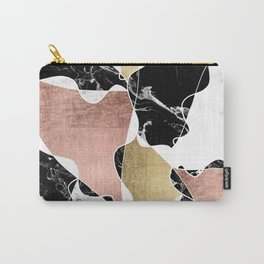 Modern white black marble rose gold foil color block handdrawn geometric lines Carry-All Pouch
