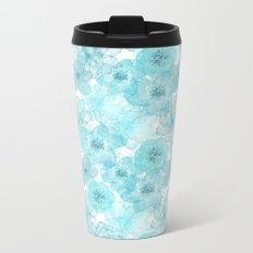Turquoise aqua flower lace pattern on #Society6 Metal Travel Mug