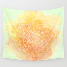 Watercolor Mandala // Sunny Floral Mandala Wall Tapestry