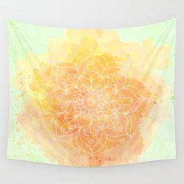 Watercolor Mandala // Sunny Floral Mandala Wall Tapestry