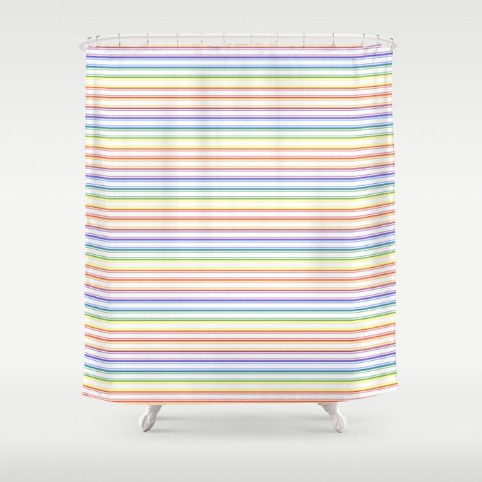 Solid Rainbow Mattress Ticking Narrow Stripes Pattern Shower Curtain