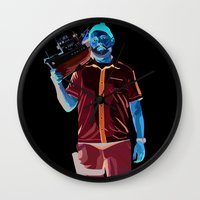 steve zissou Wall Clocks featuring Steve Zissou by Natasha Martono