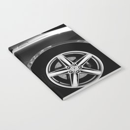 Super Car // Sexy Wheel Base Low Rims Dark Charcol Gray Black and White Notebook