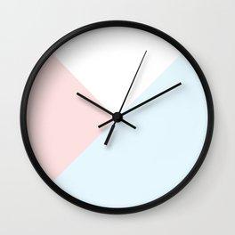Modern pastel pink blue white geometrical triangles Wall Clock