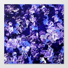 FLORAL FANTASY 2 Bold  Blue Lavender Purple Abstract Flowers Acrylic Textural Painting Garden Art Canvas Print