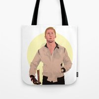 ryan gosling Tote Bags featuring Drive - Ryan Gosling by Just Jolt