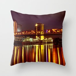 Louisiana by night on the river Throw Pillow