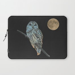 Owl, See the Moon (sq Barred Owl) Laptop Sleeve