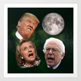 Three Politician Moon Art Print