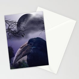 Spooky night, mixed media art with birds Stationery Cards
