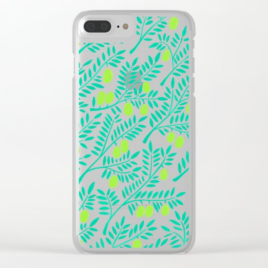 Olive Branches – Turquoise & Lime Palette Clear iPhone Case