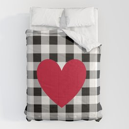 Red Heart on Black Buffalo Check Comforters