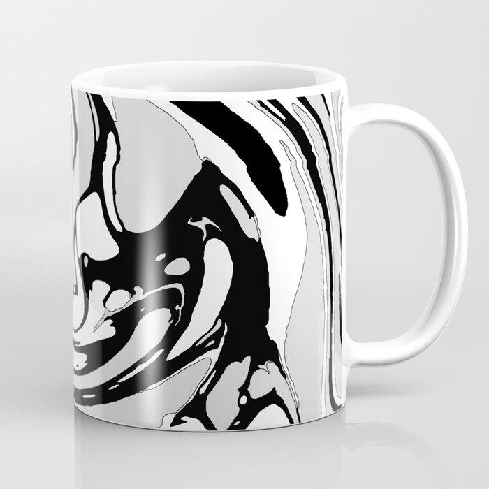 Black, White and Gray Graphic Paint Swirl Pattern Effect Coffee Mug