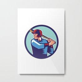 Baseball Player Batter Batting Circle Woodcut Metal Print