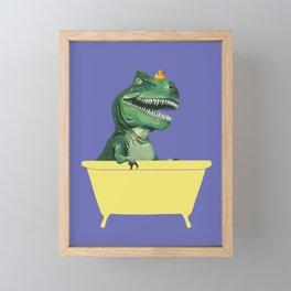Playful T-Rex in Bathtub in Purple Framed Mini Art Print