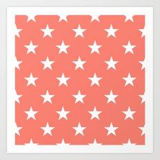 Stars (White/Salmon) Art Print