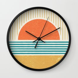 Sun Beach Stripes - Mid Century Modern Abstract Wall Clock