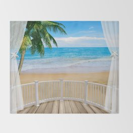 Balcony with a Beach Ocean View Throw Blanket
