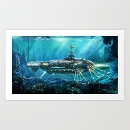 Steampunk Submarine Art Print