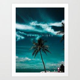 Beach Vibes Summer Sky Ocean Sean Palm Tree Art Print