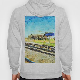 Travel by train from Teramo to Rome: tracks and buildings Hoody
