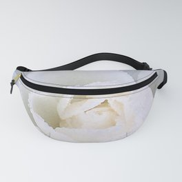 White rose with raindrops Fanny Pack