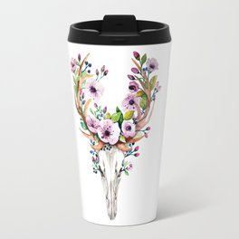 Boho watercolour skull with purple flowers crown Travel Mug