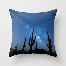Cacti in the Desert before the Stars Throw Pillow