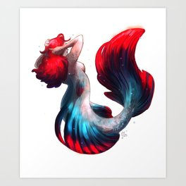 Betta fish mermaid Art Print