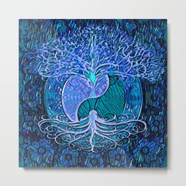 Tree of Life Yin Yang Blue Metal Print