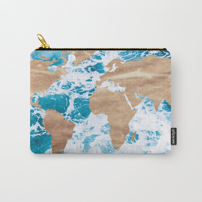 Ocean World Map Vintage Turquoise Sea Carry-All Pouch