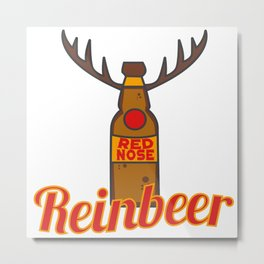 Reinbeer Christmas Beer Reindeer Xmas Drinking Rudolf Gift Idea Metal Print