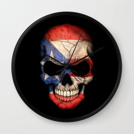 Dark Skull with Flag of Puerto Rico Wall Clock