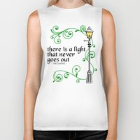 narnia Biker Tanks featuring There is a Light that Never Goes Out by Hugh & West