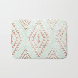 mint & coral tribal pattern Bath Mat