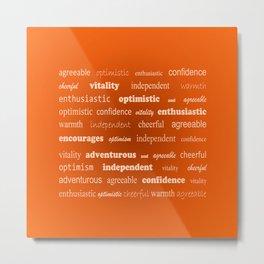 Fun With Colour & Words - Orange Metal Print
