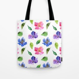 Blue, pink flowers. Watercolor florals. Botany. Tote Bag